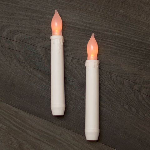 Taper Stick Candle, LED, Silicone Bulb, 11.5 inch, White, 2 Pack