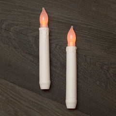 Stick Candle, LED, 6.25 in, Battery, Silicone Tip, Indoor, White, 2 pk