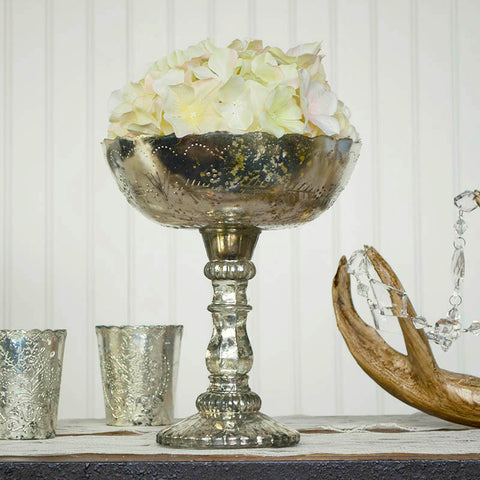Mercury Glass Compote, Round Quilted Bowl with Pedestal, 6 inch, Gold