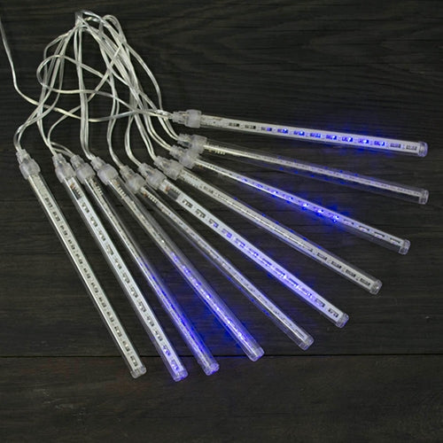 Icicle Lights, Cascading LED, 19 foot Clear Wire, Plug in, Blue