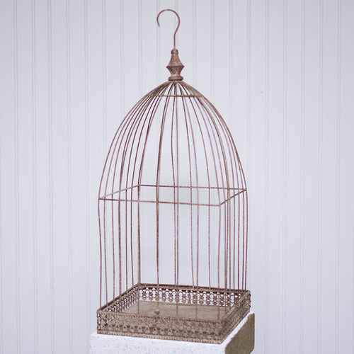 Wire Bird Cage Wedding Card Holder, Removable Cloche, Distressed Brick Red