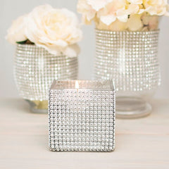 Diamond Mesh Vase Wrap, Elastic Wedding Bling, 14 in diameter, 4.5 in, Silver