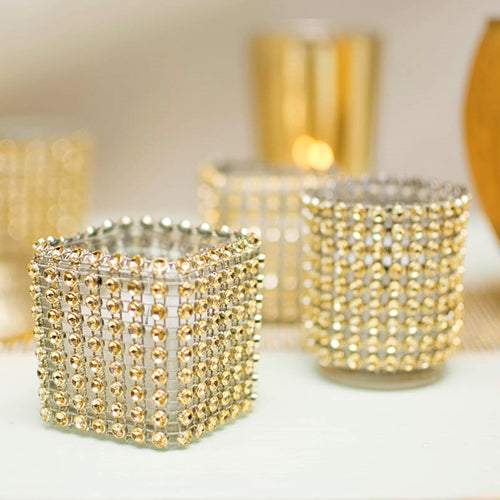Diamond Mesh Votive Wrap, Elastic Wedding Bling, 6 in diameter, Gold, 2 Pack