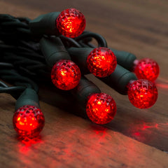 String Lights, Raspberry LED Bulbs, 24 ft, Outdoor, Plug-in, Red