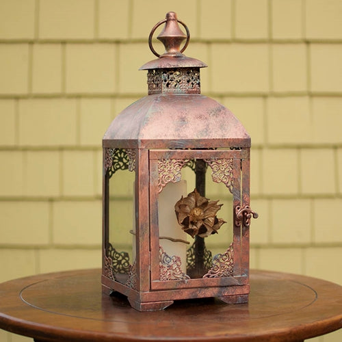 Metal Candle Lantern, Patina Finish, 6.1 x 15.6 inches, Aged Brass