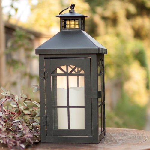 Metal Candle Lantern, Crisscross Pattern, 5.8 x 12.75 inches, Black