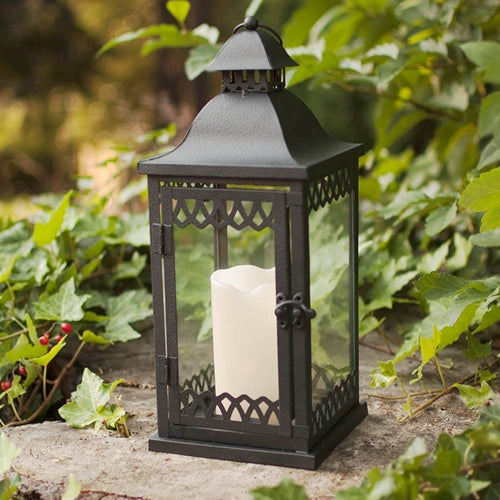 Metal Candle Lantern, Lattice Pattern, 5.6 x 15 inches, Black