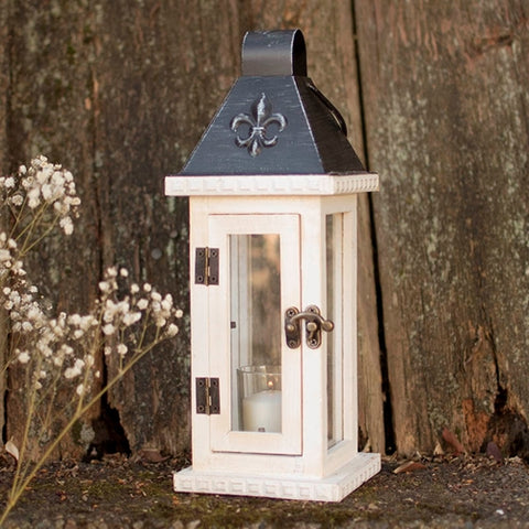 Antique-Inspired Candle Lantern, Wood & Glass, 14 in, Distressed White