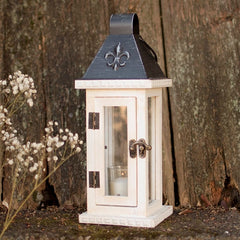 Wood Candle Lantern, Black Metal Roof, 4.5 x 11.8 inches, White Washed