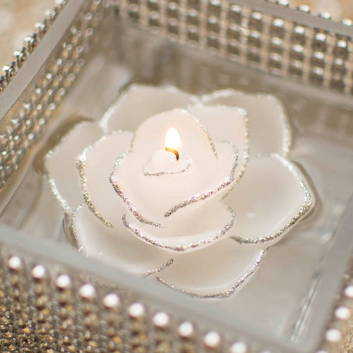Floating Rose Flower Real Wax Candle with Silver Glitter Trim, 3 inch, White