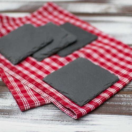 Slate Coaster Set, Blackboard, Chalkboard, Square, 4 inch, 4 Pieces