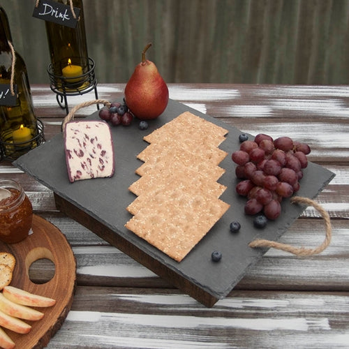 Rectangular Slate Cheese Board with Twine Handles, Chalkboard Serving Tray