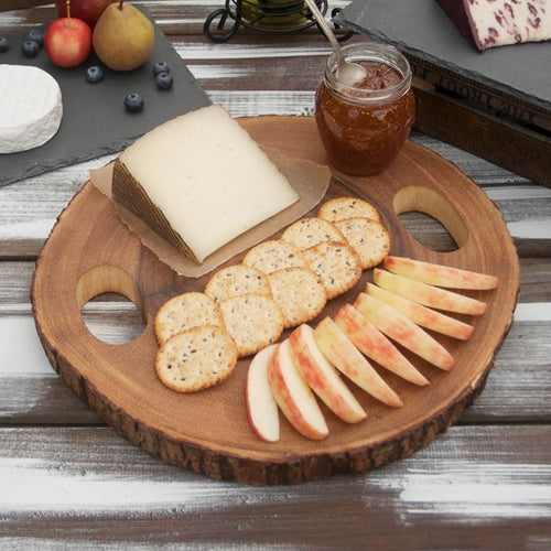 Acacia Wood Slice Cheese Board, Rustic Wooden Serving Tray, 13 x 1.25 inches