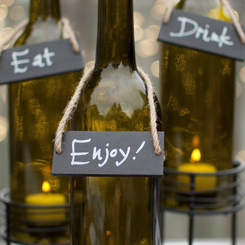 Rectangular Hanging Chalkboard Bottle Label Tag, Place Cards, Set of 2