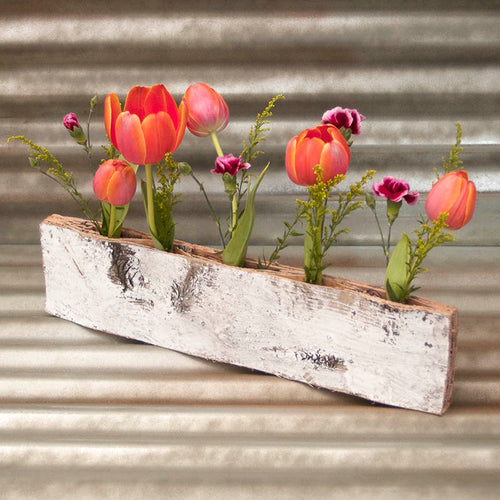 Birch Bud Vase Holder, Reclaimed Bark, Rustic Whitewash, 19.75 inches