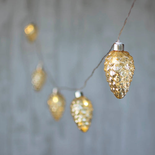 LED String Lights, Glass Pine Cone, 2 ft, Silver Wire, Battery, Gold