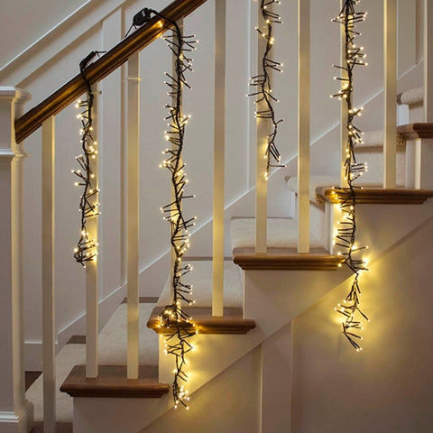 LED Icicle String Lights, 70 Mini Bulbs, White Wire, Plug in, WARM WHITE