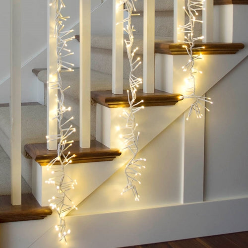 Commercial LED Supernova Garland, 3 ft, White Wire, Multifunction, Warm White