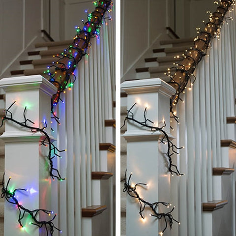Frosted Pine with Berries Garland, LED, 6 ft,  Battery Op., Warm White