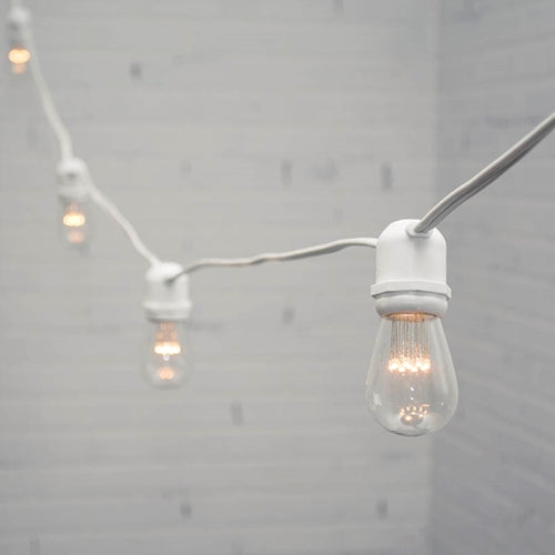 Commercial LED Edison String Lights, 48 Foot White Wire, S14 Bulb, Warm White