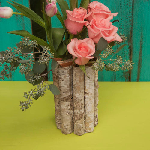Natural Wood Container Vase, Folded Birch Bark, Round Wedding Centerpiece