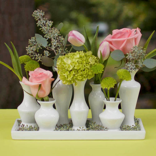 Ceramic Vase Cluster Tray Set, Rectangle Bud Vase Centerpiece, White