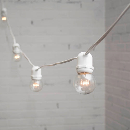 Commercial LED Globe String Lights, 48 Foot White Wire, 2 in bulb, Warm White