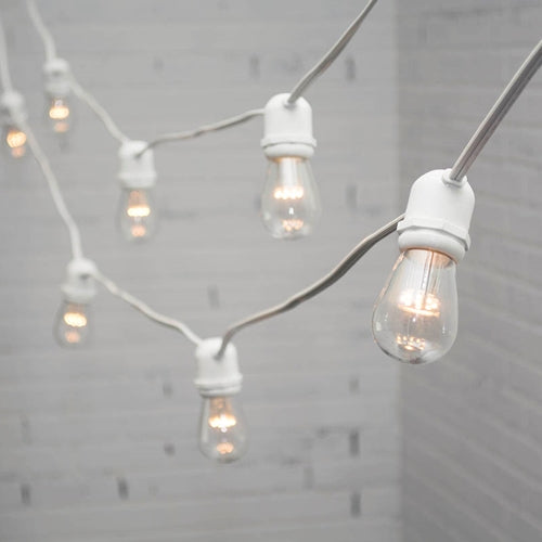 Commercial LED Edison String Lights, 100 Ft White Wire, S14 Bulb, Warm White