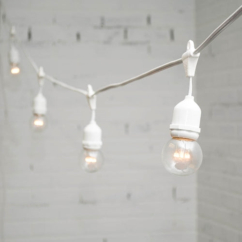Commercial LED Drop Globe String Lights, 48 Ft White Wire, Warm White