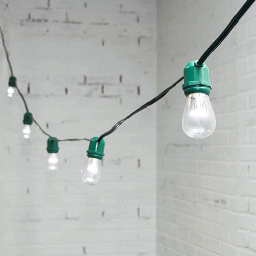 Commercial LED Edison String Lights, 48 Foot Green Wire, S14 Bulb, Cool White
