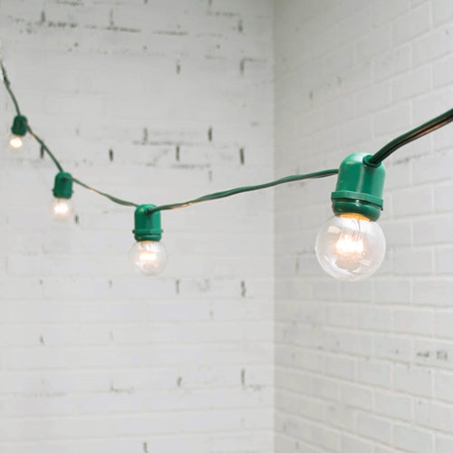 Commercial LED Globe String Lights, 48 Foot Green Wire, 2 in bulb, Warm White