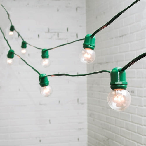 Commercial LED Globe String Lights, 100 Ft Green Wire, 2 in bulb, Warm White