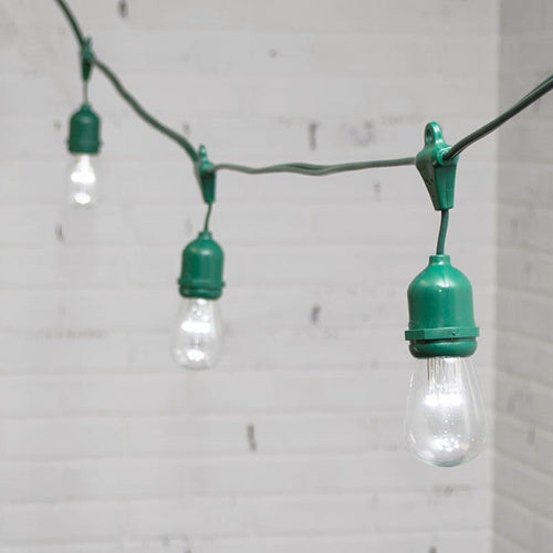Commercial LED Edison Drop String Lights, 48 Ft Green Wire, S14, Cool White