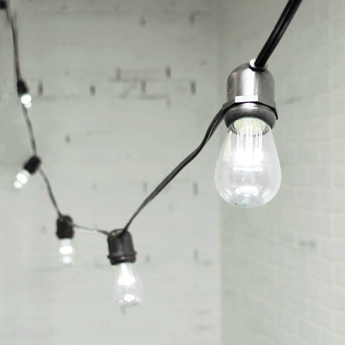 Commercial LED Edison String Lights, 48 Foot Black Wire, S14 Bulb, Cool White
