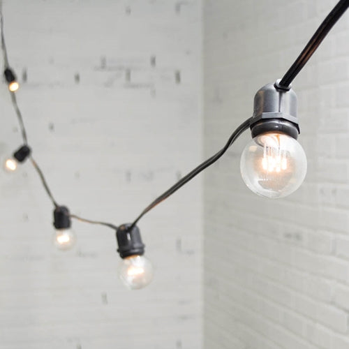 Commercial LED Globe String Lights, 48 Foot Black Wire, 2 in bulb, Warm White