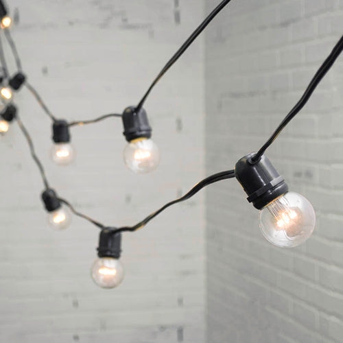 Commercial LED Globe String Lights, 100 Ft Black Wire, 2 in bulb, Warm White