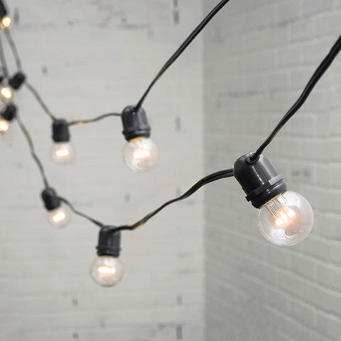 Commercial Globe Drop LED String Lights, 48 Foot Black Wire, Warm White