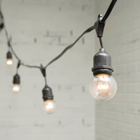 Café String Lights, Vintage Edison Bulbs, 35 ft Black Wire, Copper Shades