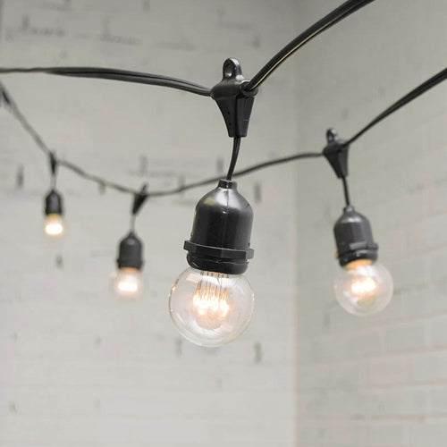 Commercial LED Globe Drop String Lights, 100 Ft Black Wire, Warm White