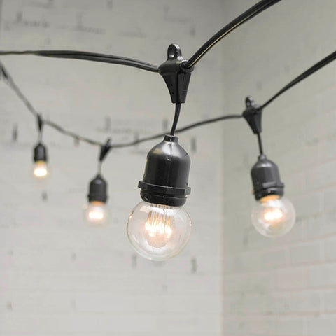 Commercial Globe String Lights, A19 Dimmable LED, 48ft Black Wire, Warm White
