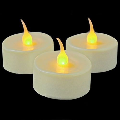 Tea Light Candles, Flickering Amber LED Flame, 3 Pack, Pearl White