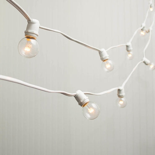 Commercial LED Globe String Lights, 98 Ft White Wire, 1.5 in bulb, Warm White