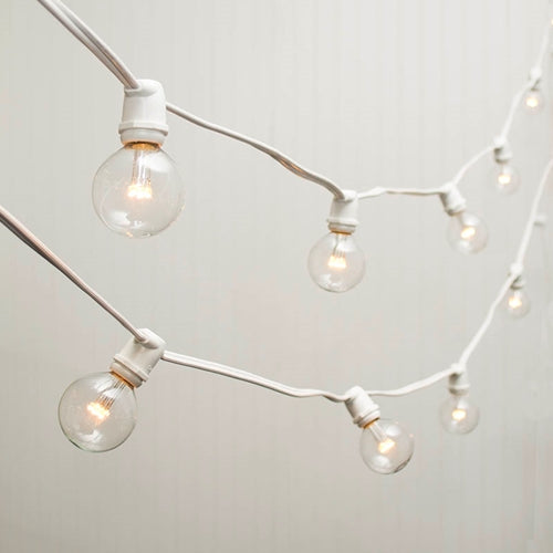 Commercial LED Globe String Lights, 98 Ft White Wire, 2 in bulb, Warm White