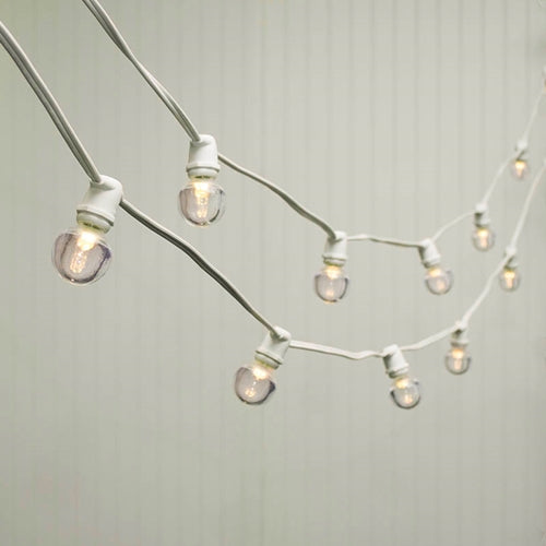 Commercial LED Globe String Lights, 100 Ft White Wire, 1.5 in bulb, Warm White
