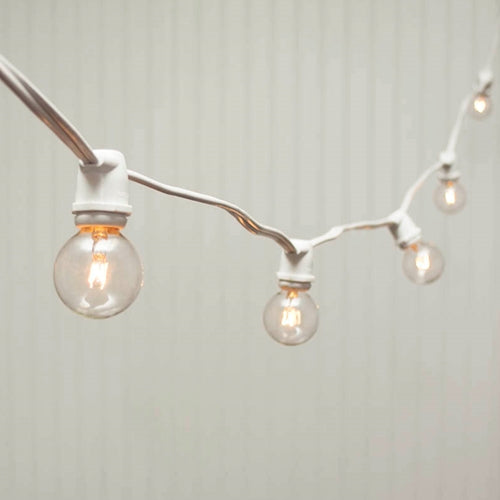 Commercial Globe String Lights, 56 Ft White Wire, 1.5 in bulb, Warm White