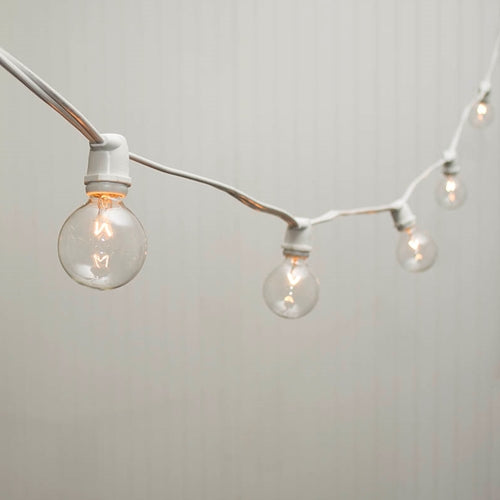 Commercial Globe String Lights, 56 Ft White Wire, 2 in bulb, Warm White