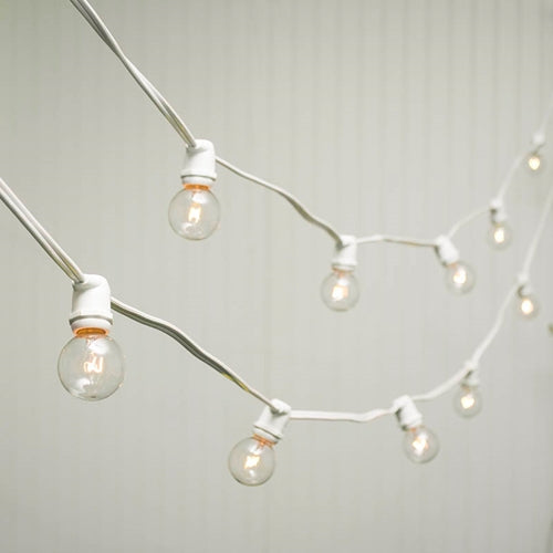 Commercial Globe String Lights, 100 Ft White Wire, 1.5 in bulb, Warm White