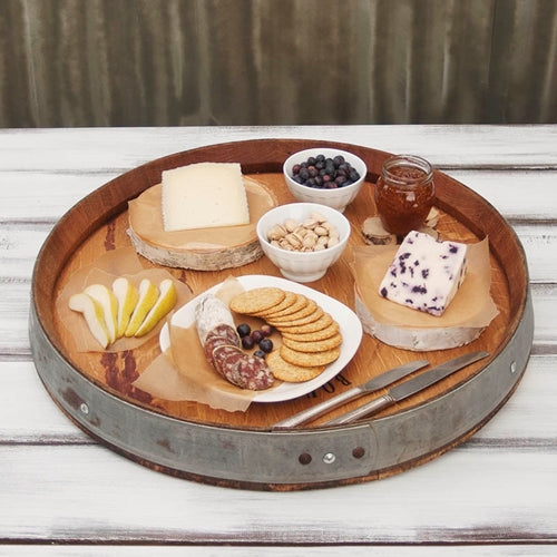 Serving Tray Lazy Susan, Wood Wine Oak Barrel Turntable, 23 inch diameter