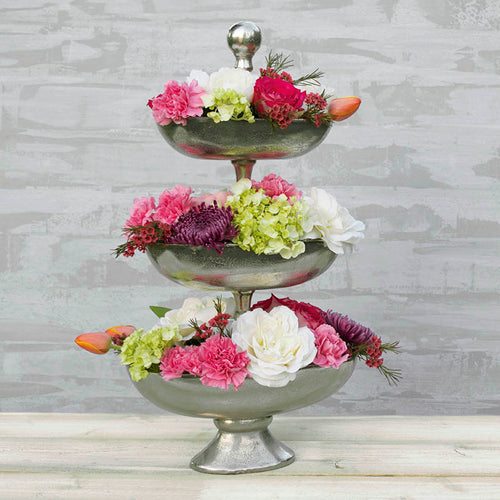 Oval Metal Serving Compote, Three Tier, Pedestal Base, 25.5 in, Silver