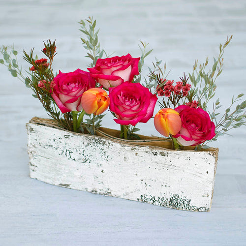 Birch Bud Vase Holder, Reclaimed Bark, Rustic Whitewash, 12 in. long